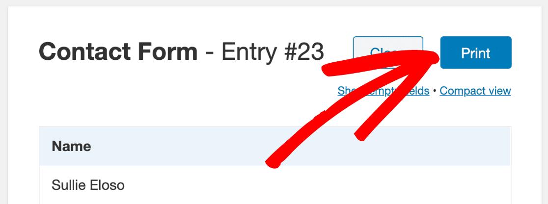 Print button on WordPress form entry