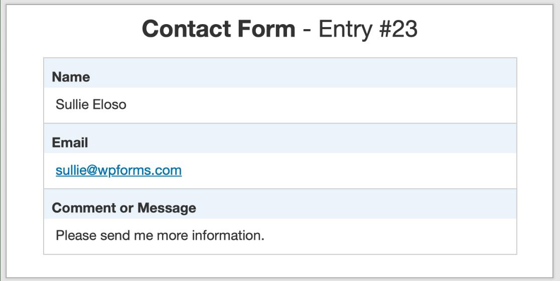 WordPress form entry - printed to PDF