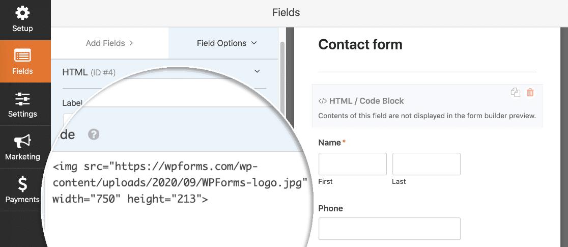 WordPress image form HTML