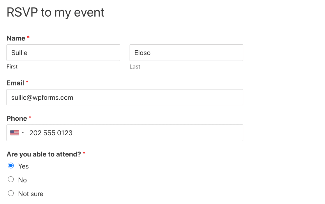Published WordPress RSVP form