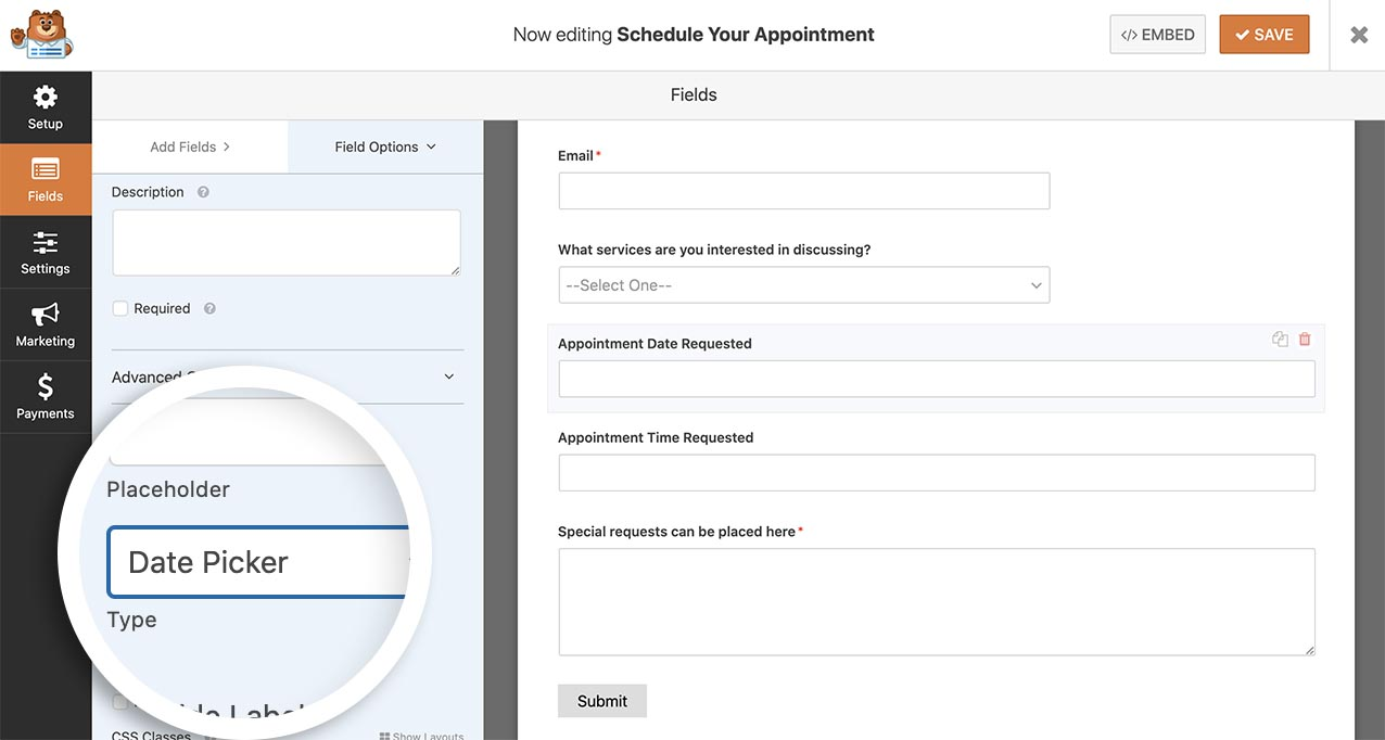 Add a date picker to your form
