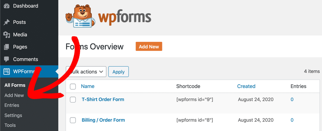 Add a new custom form in WPForms