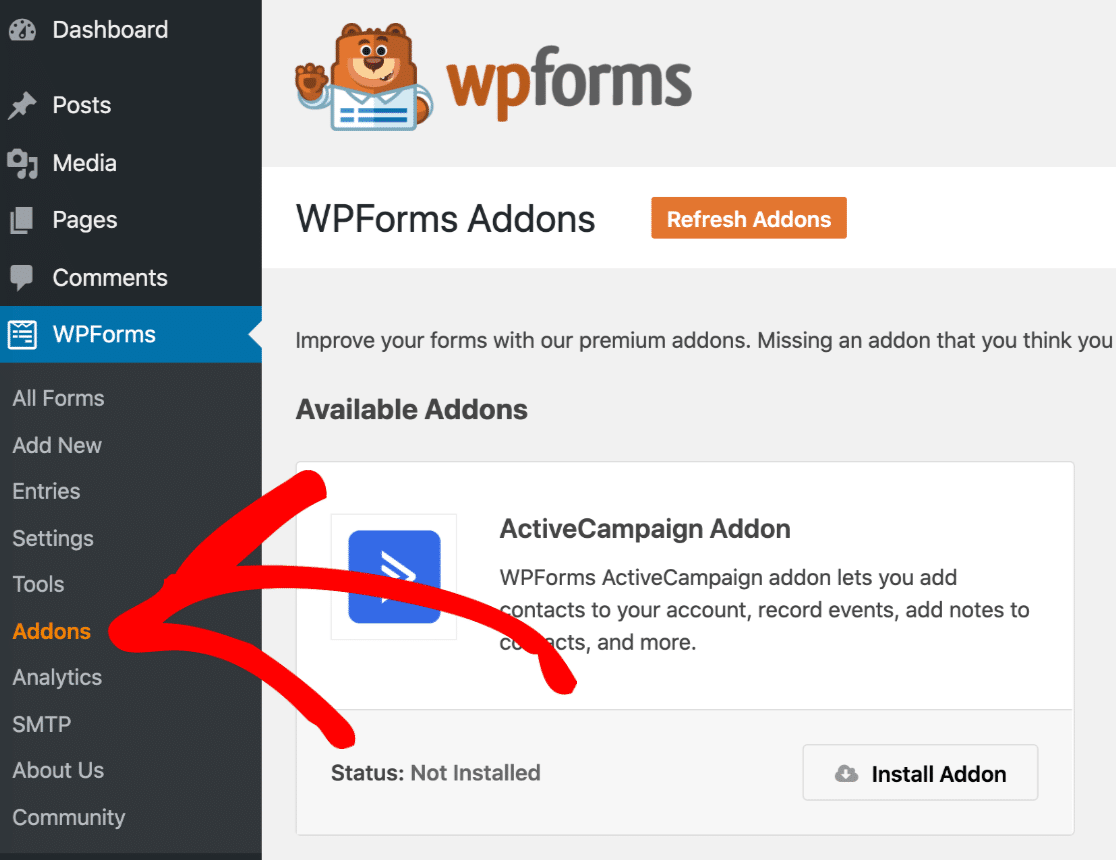 WPForms addons menu