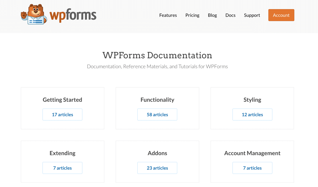 Ninja Forms vs Contact Form 7 vs WPForms documentation