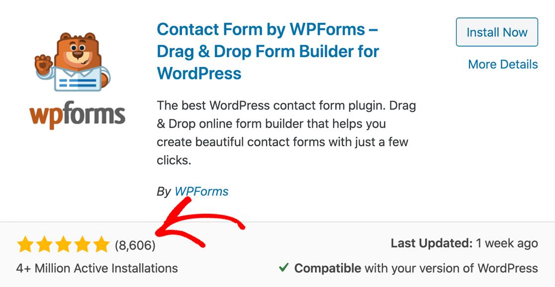WPForms Lite reviews