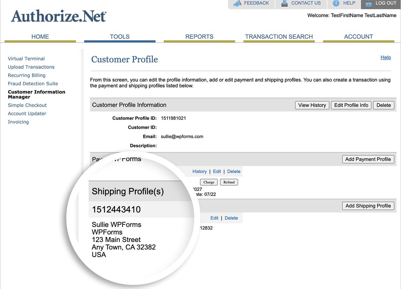 sending address through to Authorize.net