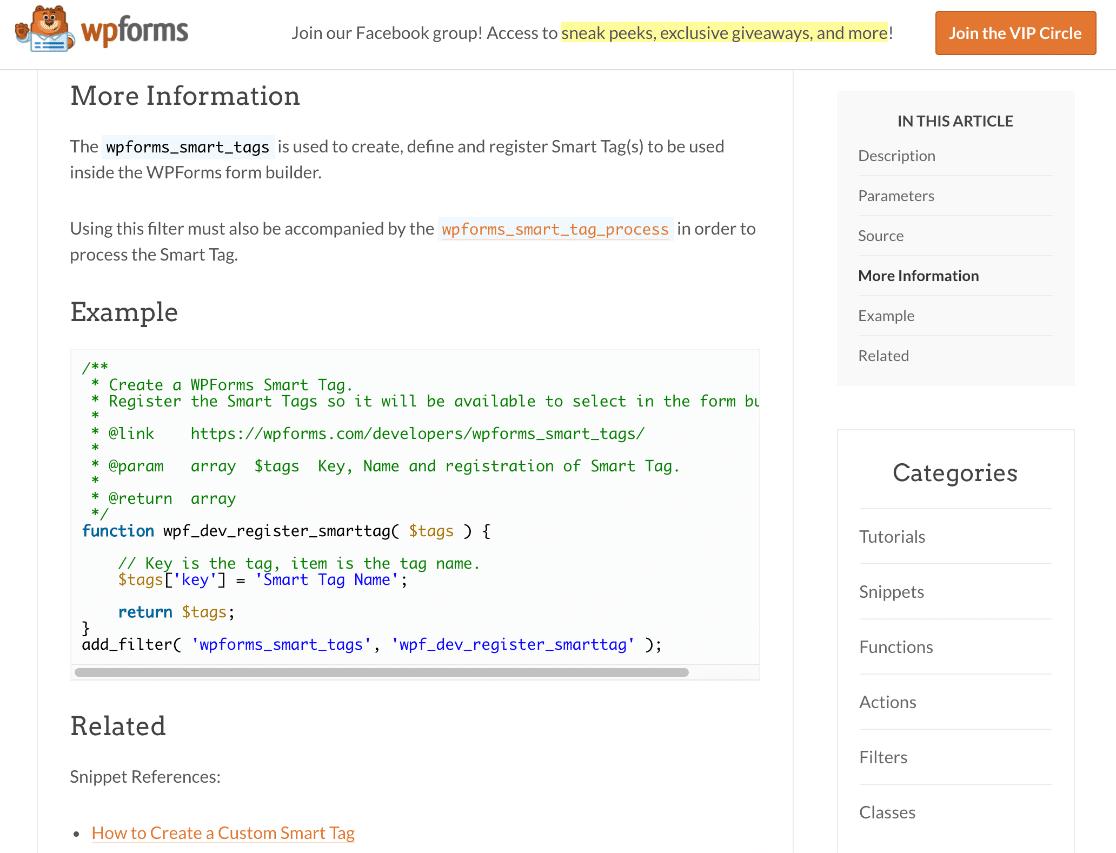 WPForms developer docs example