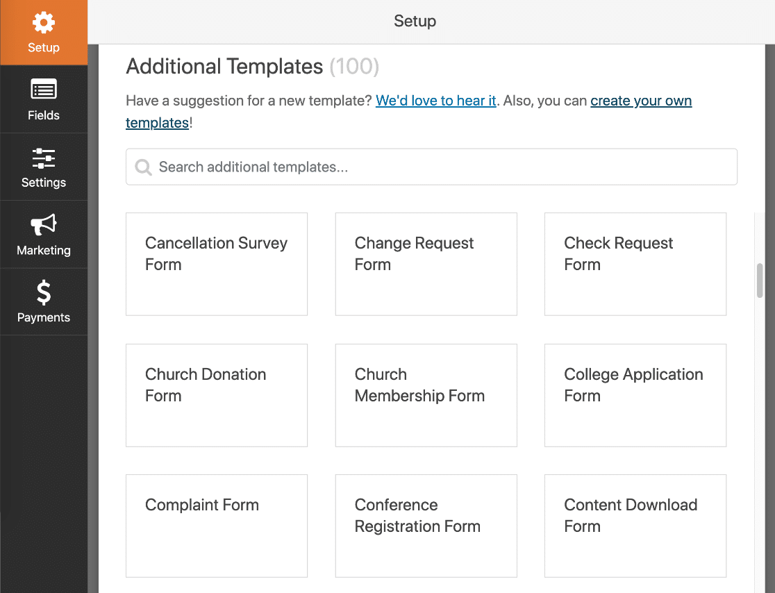 WPForms form templates