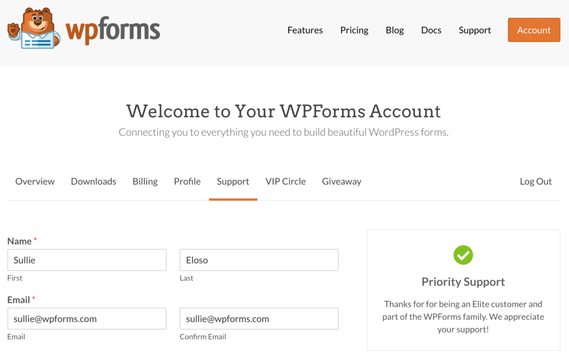 WPForms support ticket for paid licenses