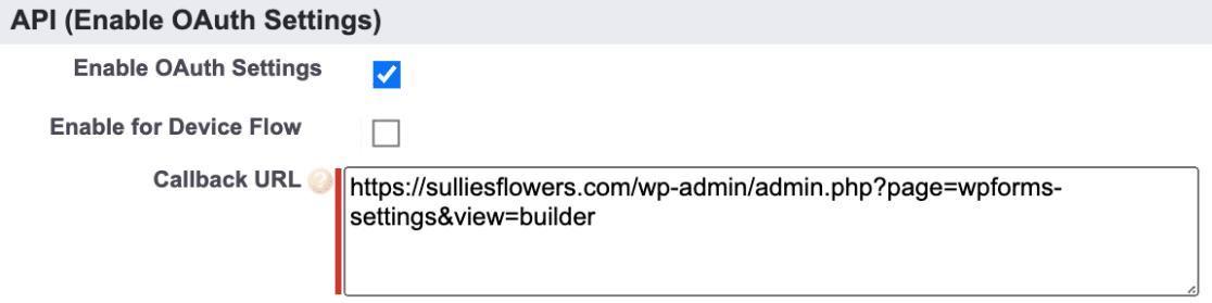 Callback URL in Salesforce