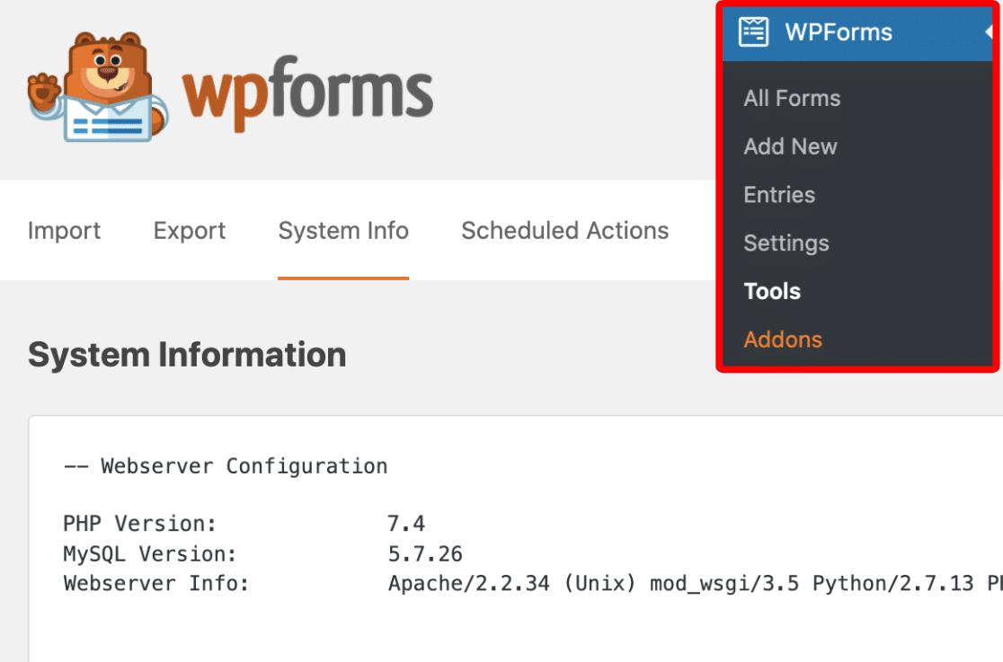 Check server info using WPForms Tools