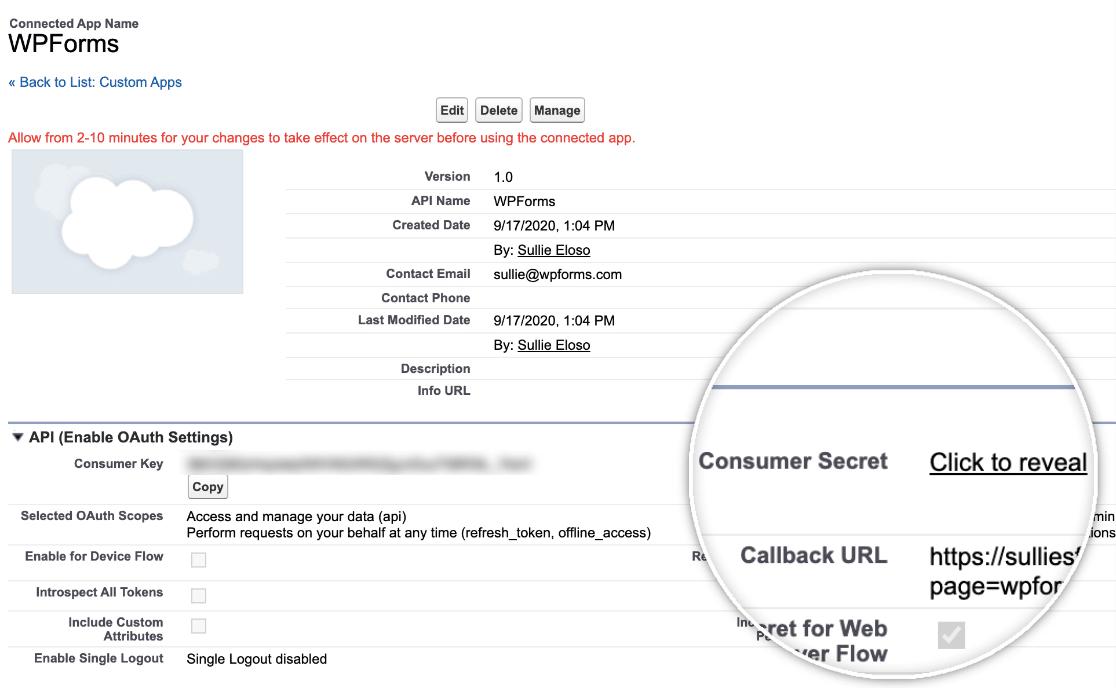 Consumer Secret in Salesforce