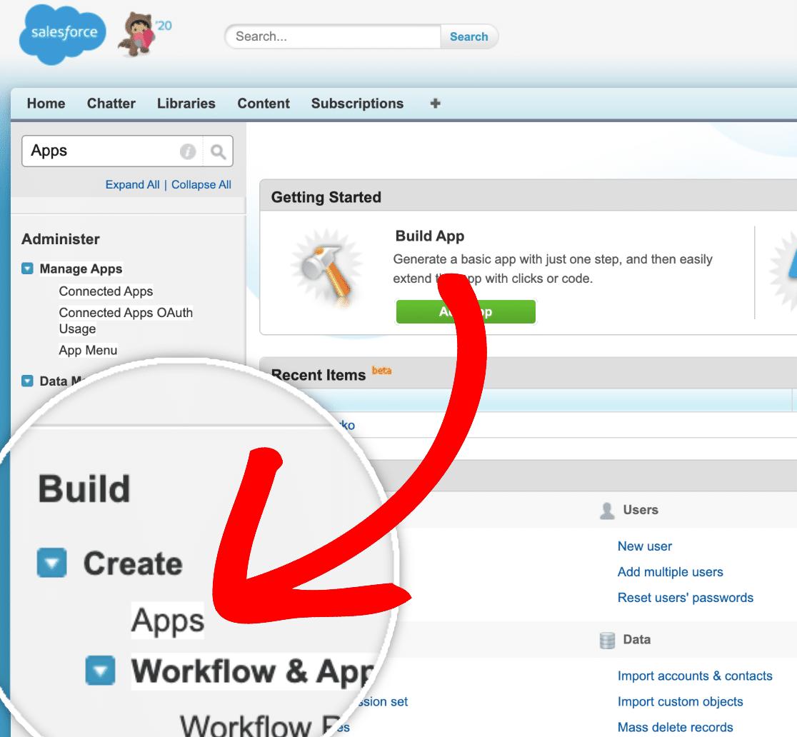 Create a New App in Salesforce