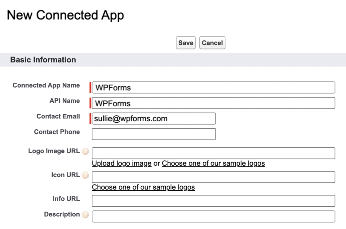 New Salesforce App Basic Info