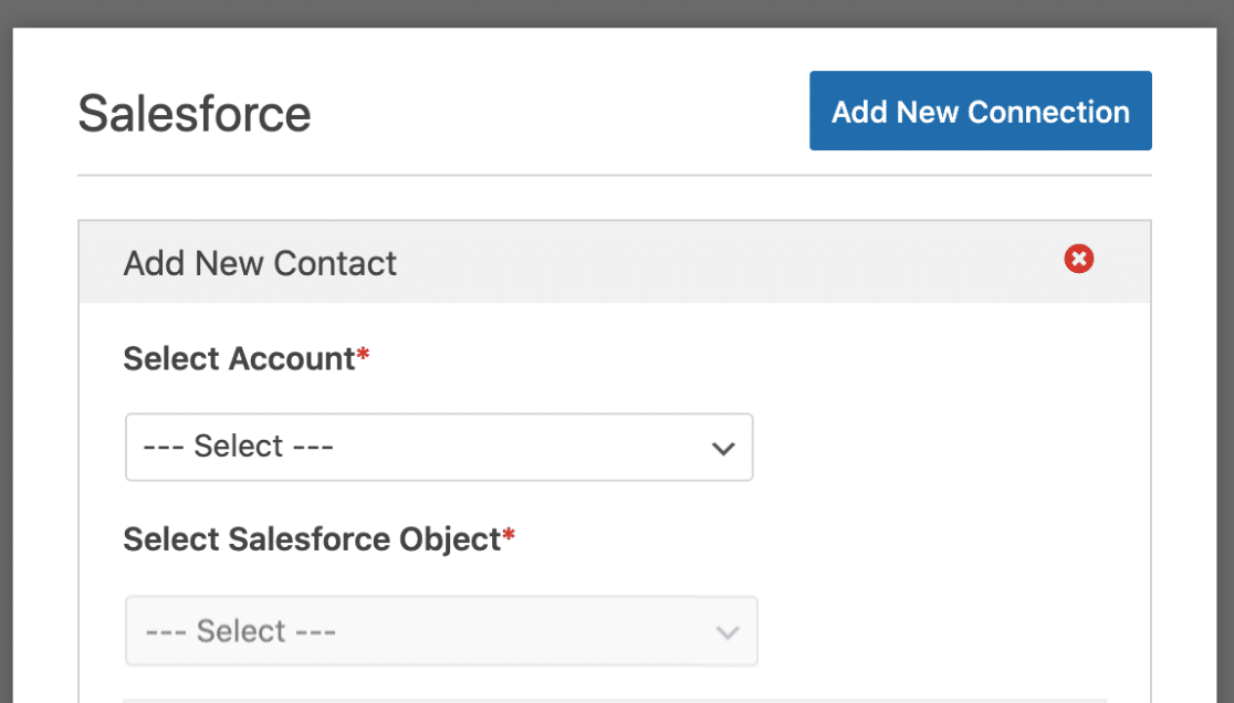 New Salesforce Connection