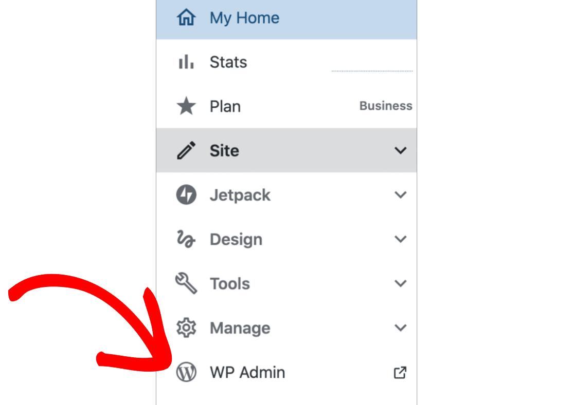 Open WP Admin from WordPress com
