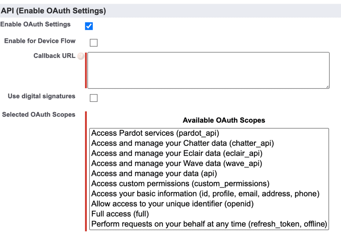 Salesforce API Settings