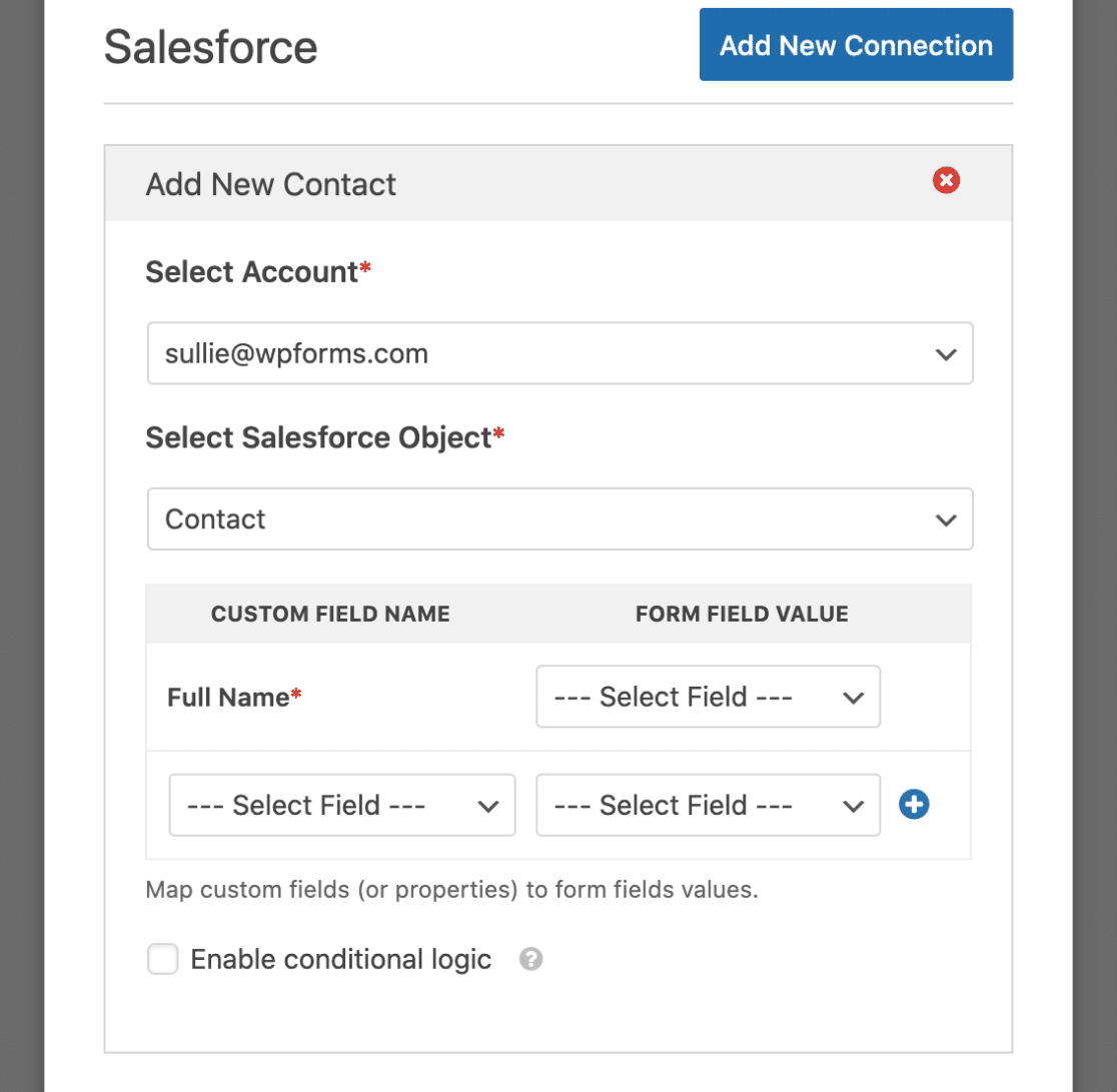 Salesforce Options in Form Builder