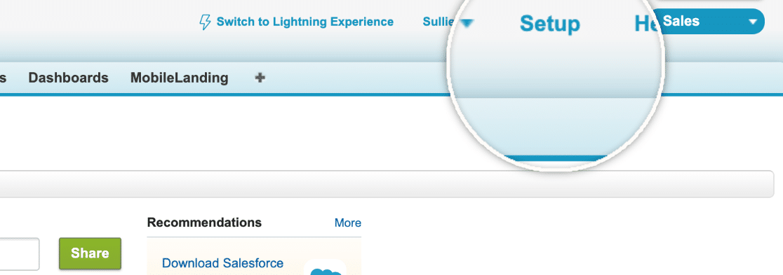 Setup Option in Salesforce