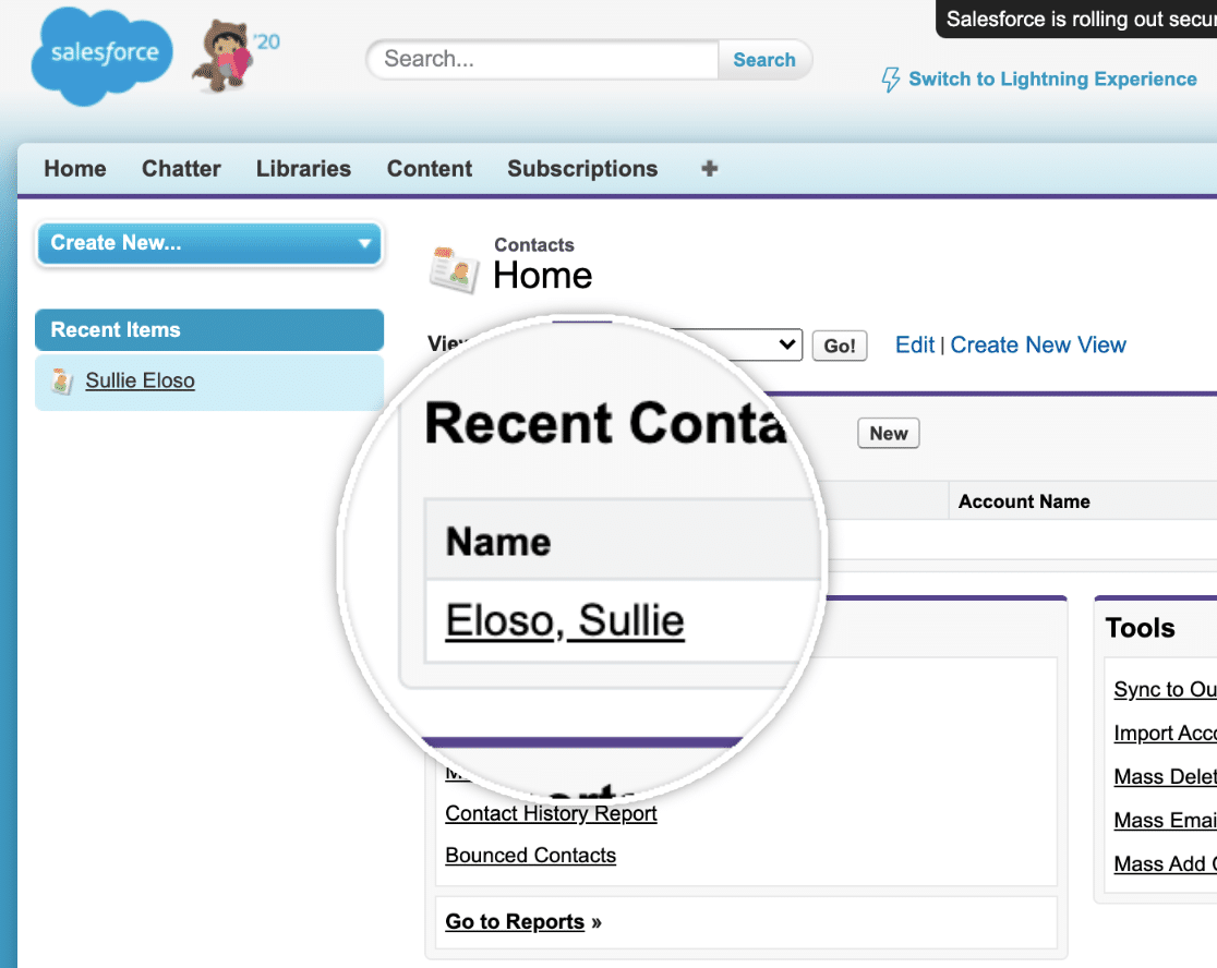 Select Contact in Salesforce