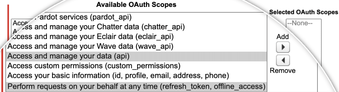 Selected OAuth Scopes for Salesforce