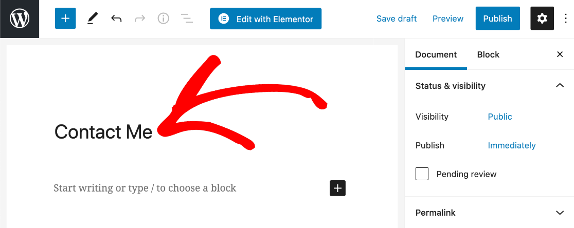 Add contact page title in Elementor