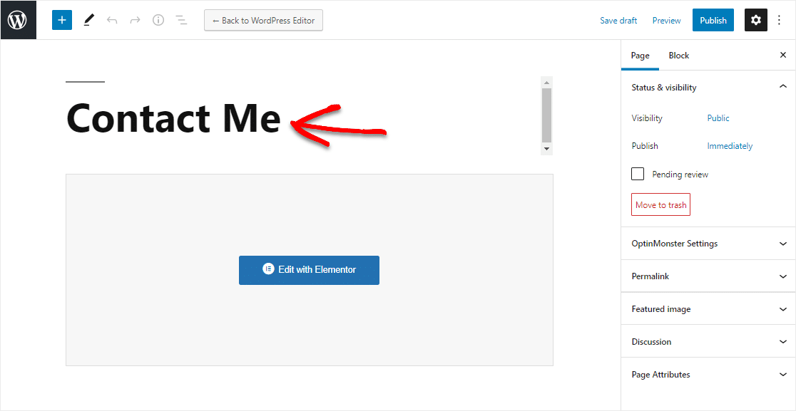 add the contact page title in elementor wpforms