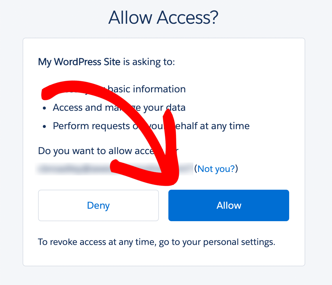 Allow access to Salesforce from WordPress integration