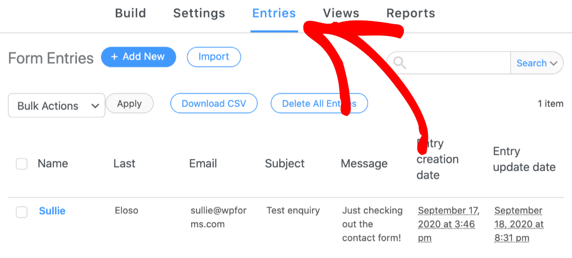 Check individual form entries if Formidable forms is not sending email