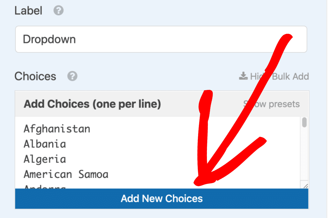 Add new choices to the country dropdown list