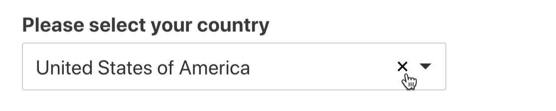 Click X on modern country dropdown list