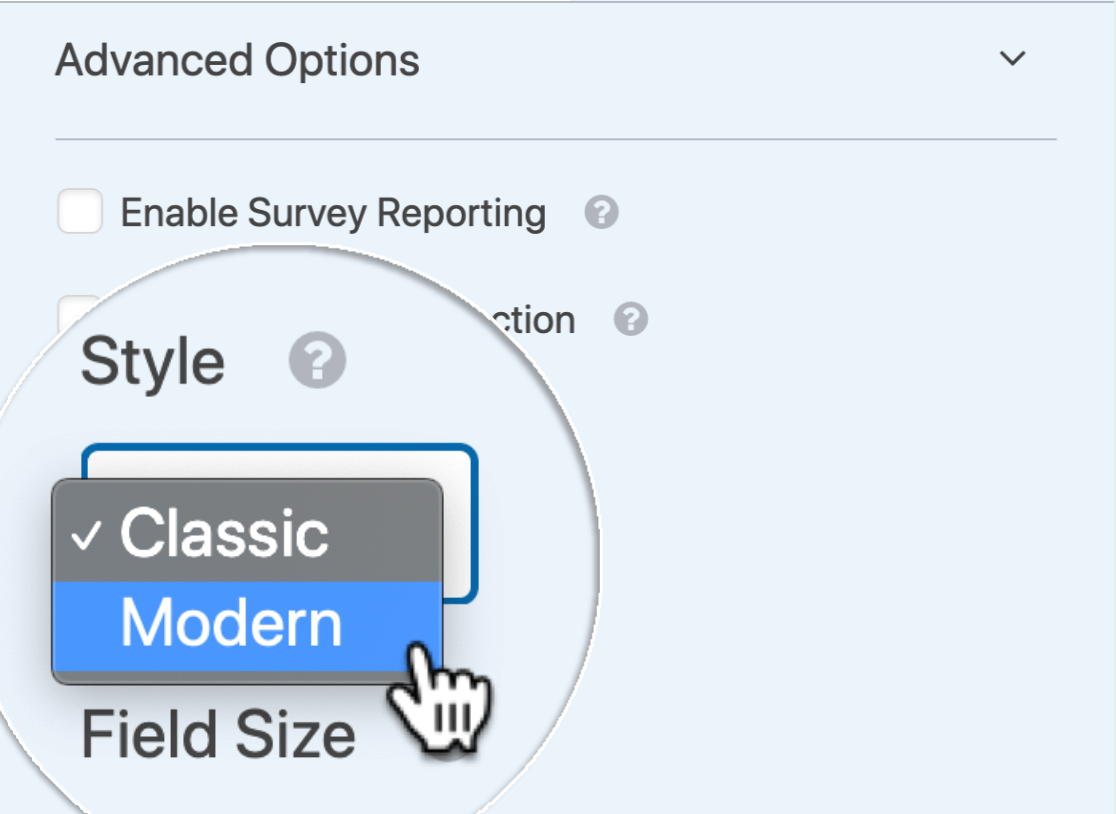 Choose the Modern country dropdown list style