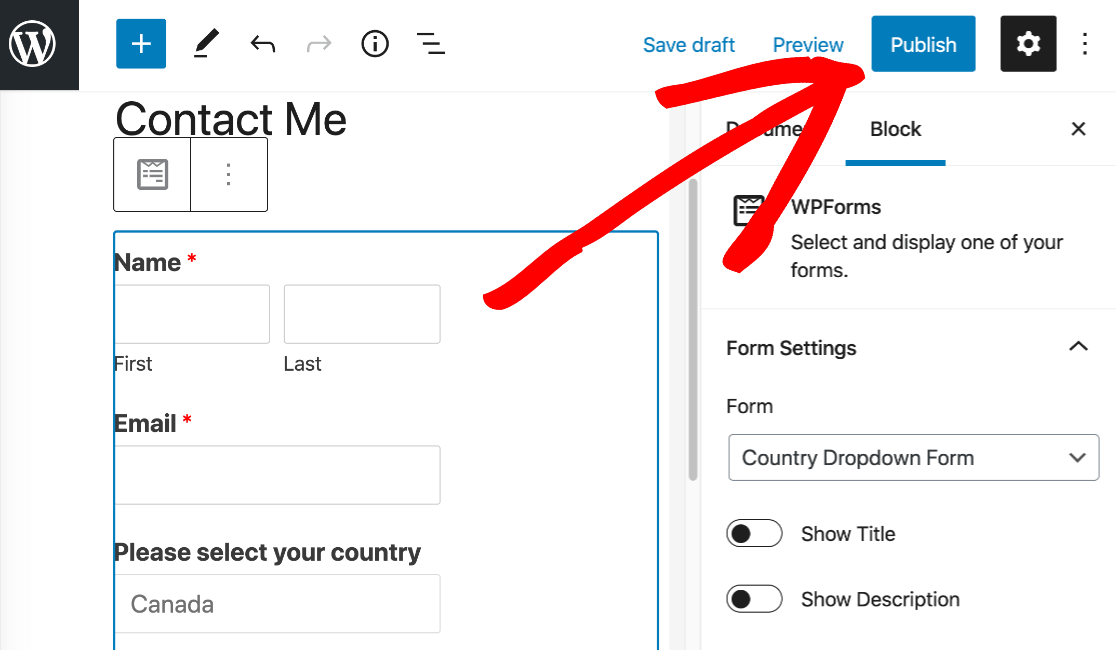 Publish your form with country dropdown list in WordPress