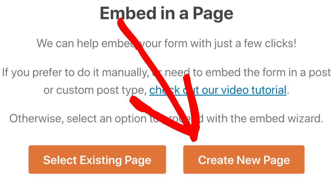 Create a new page for your form
