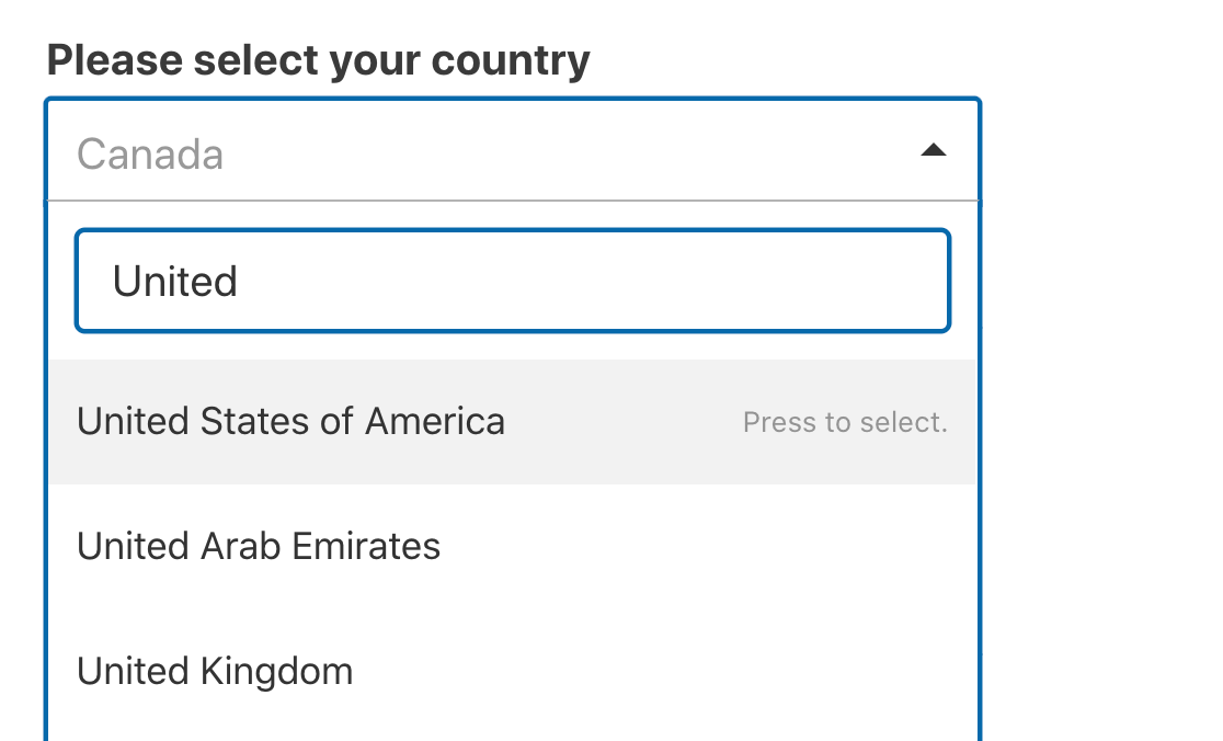 Search for a country in the dropdown list