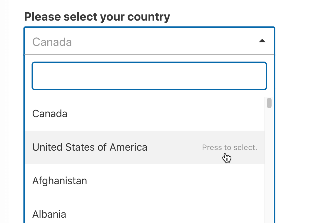 Select country from WordPress dropdown list