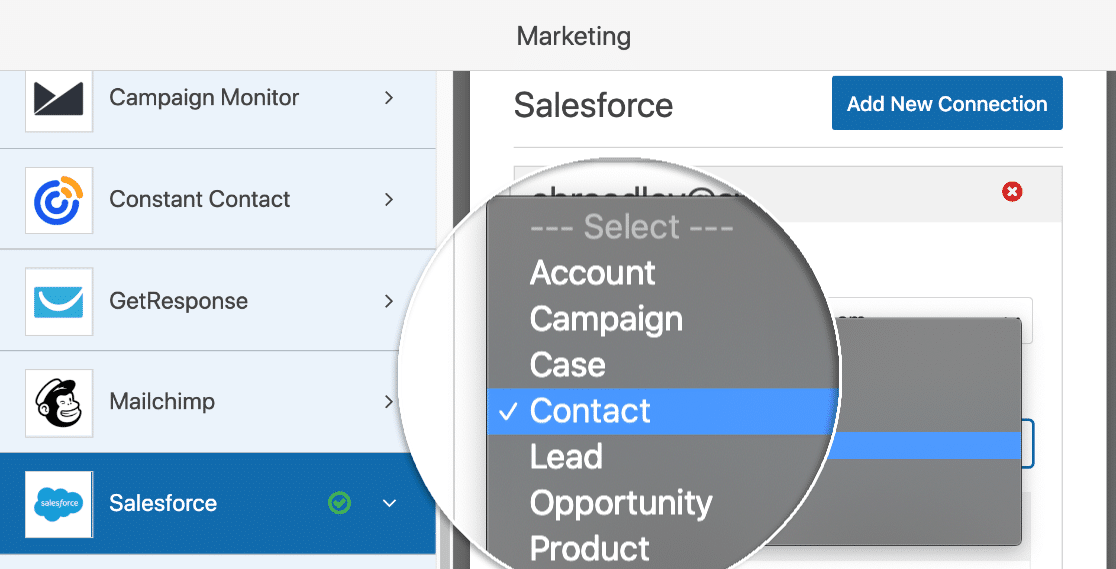 Create Salesforce object in WPForms