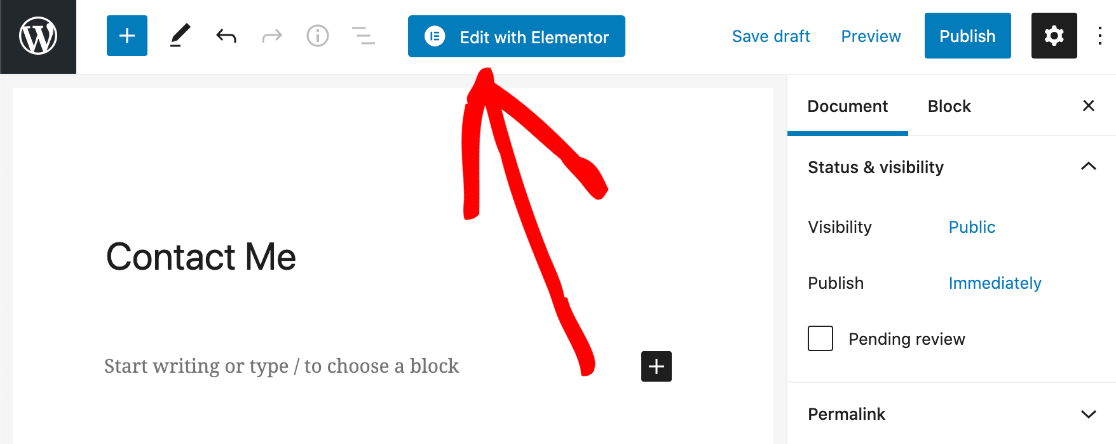 Edit contact page with Elementor
