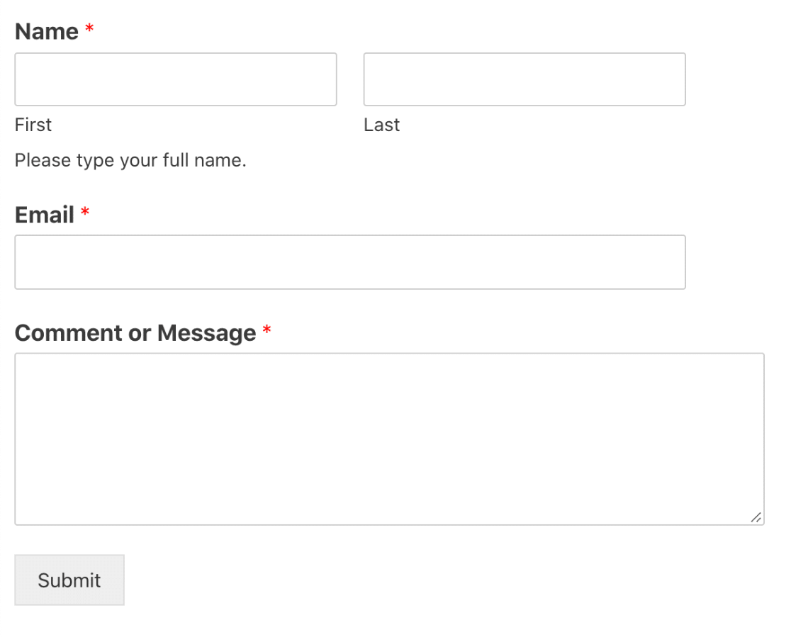 Published Elementor contact form