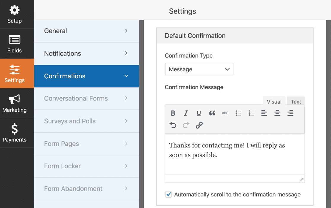 Elementor form builder confirmation message
