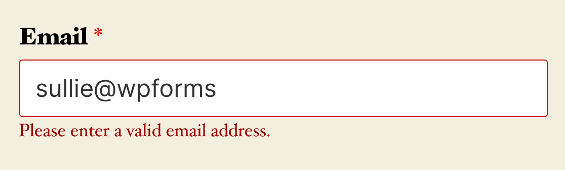 An email field validation message