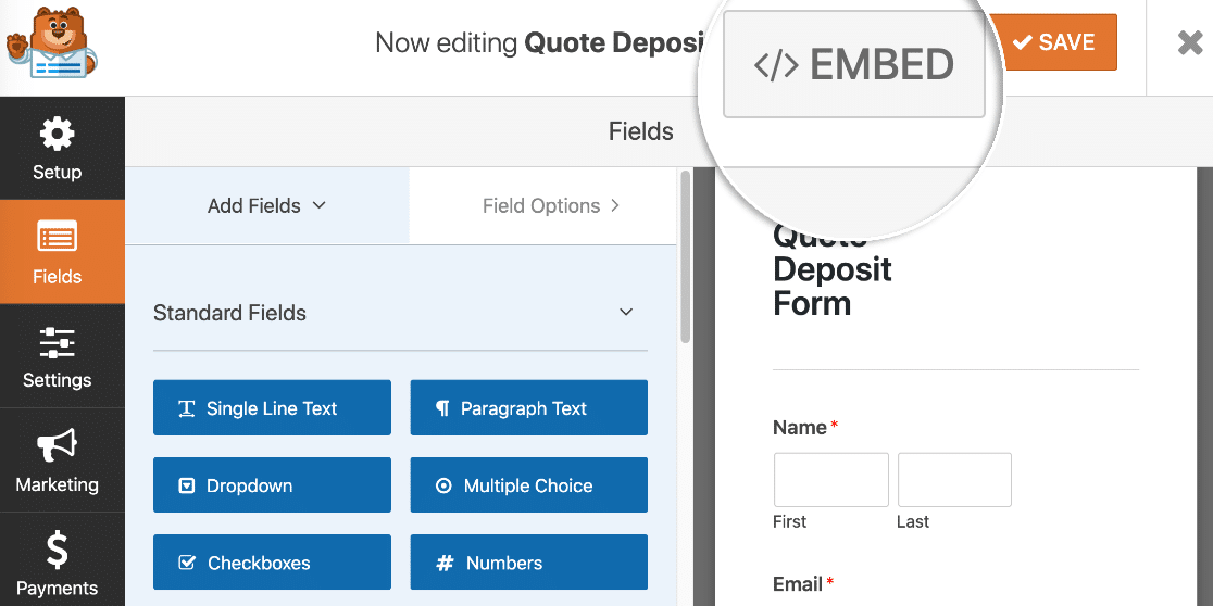 Embed your file upload payment form