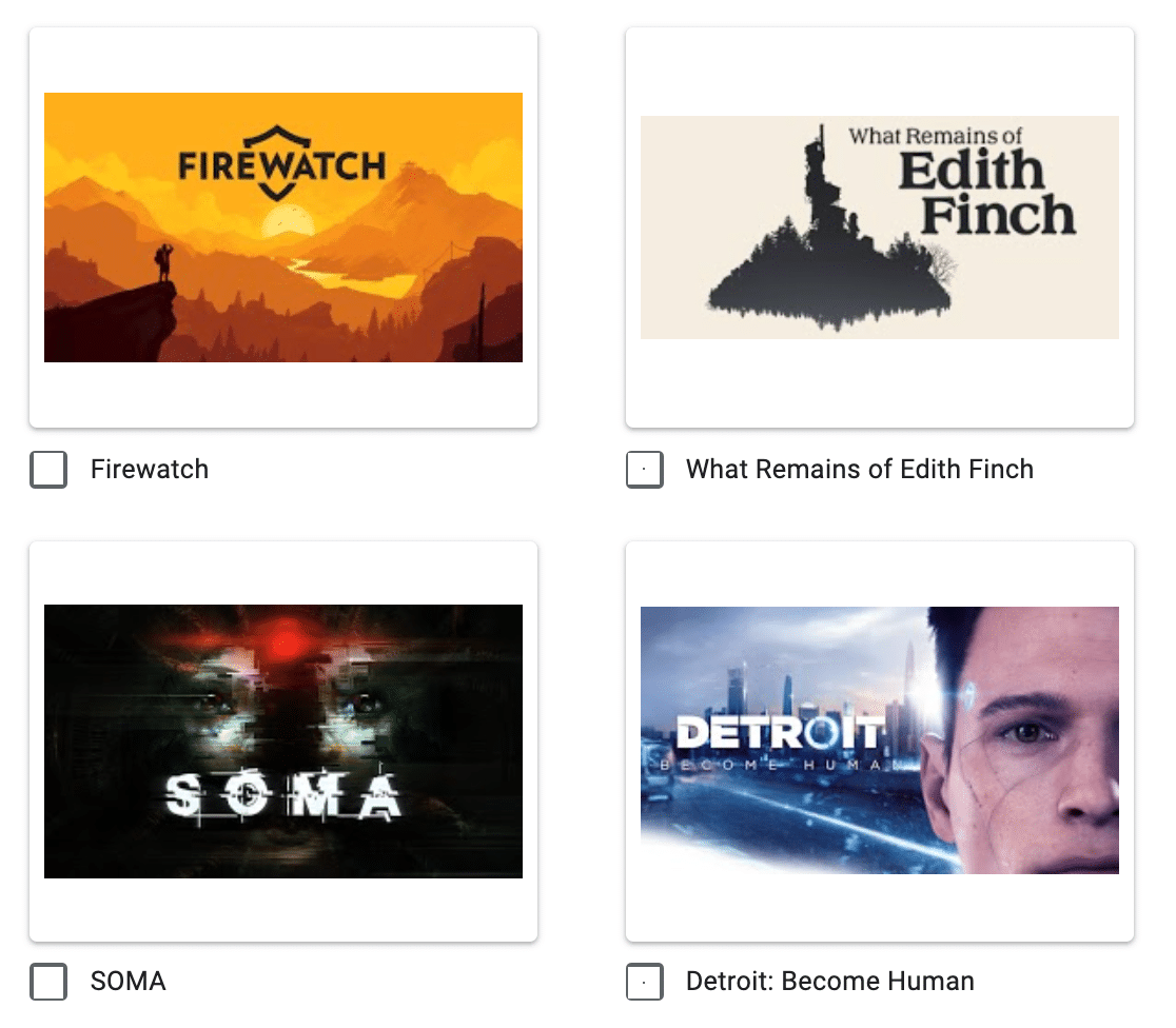 Example of image choices in a questionnaire