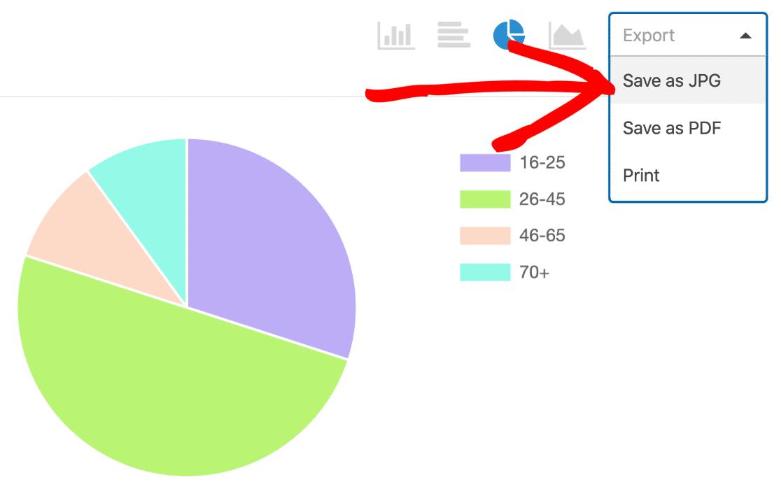 Export survey pie chart