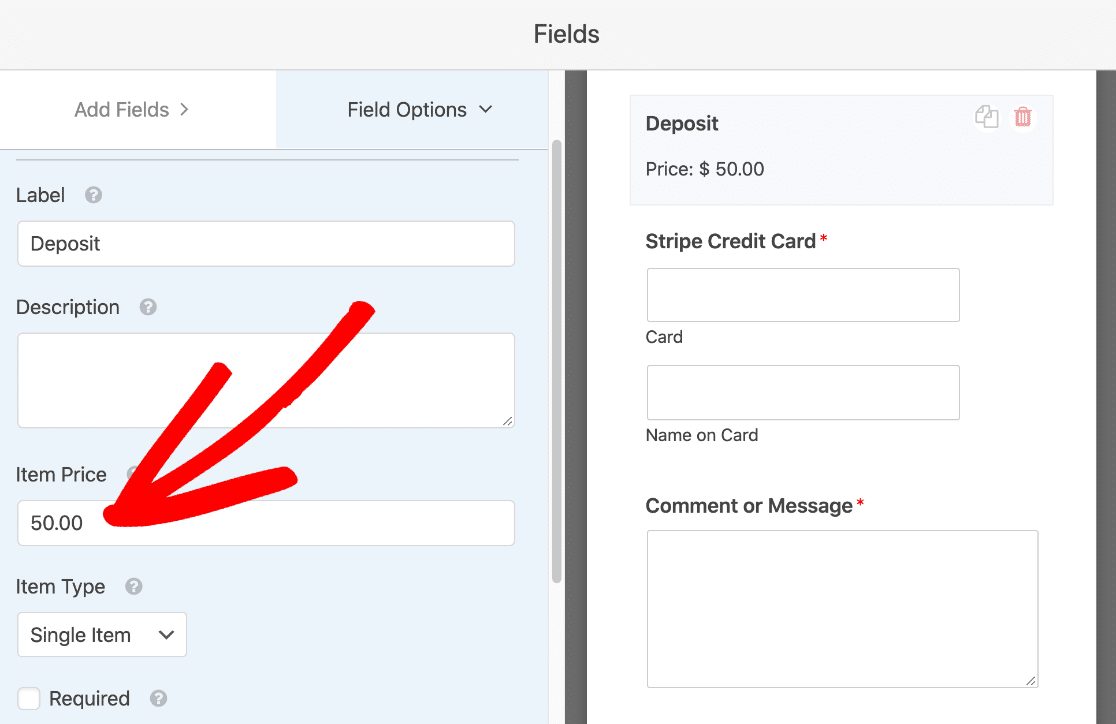 File upload form with single payment field
