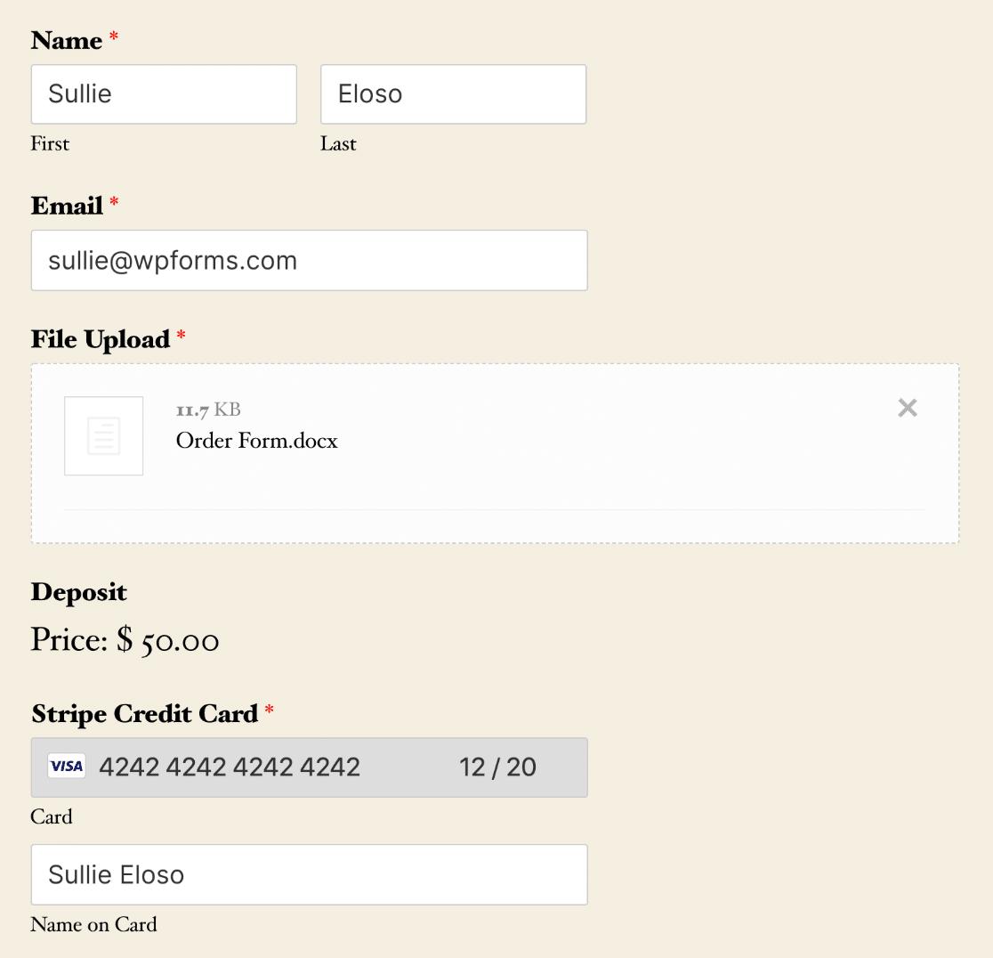 Finished file upload payment form