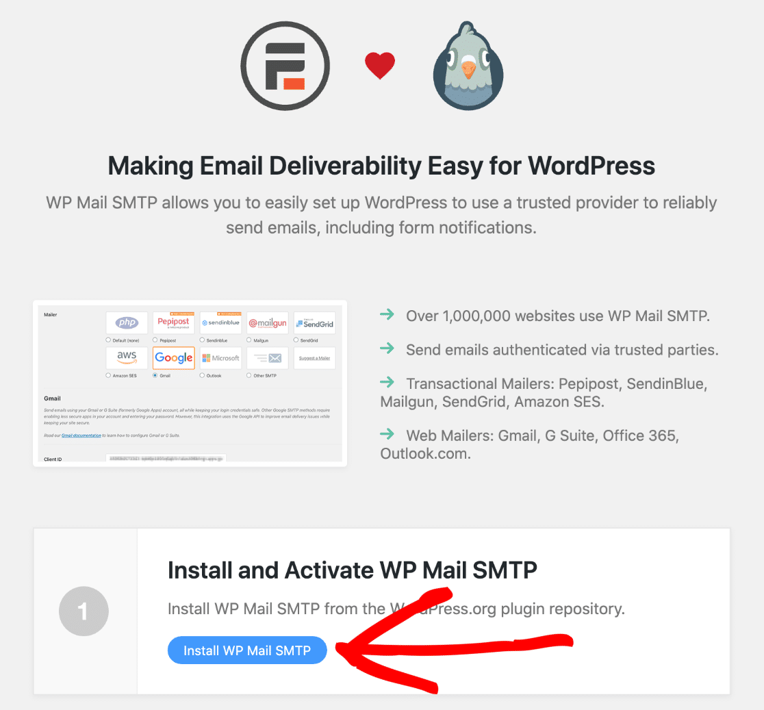 Install WP Mail SMTP to fix Formidable Forms not sending email