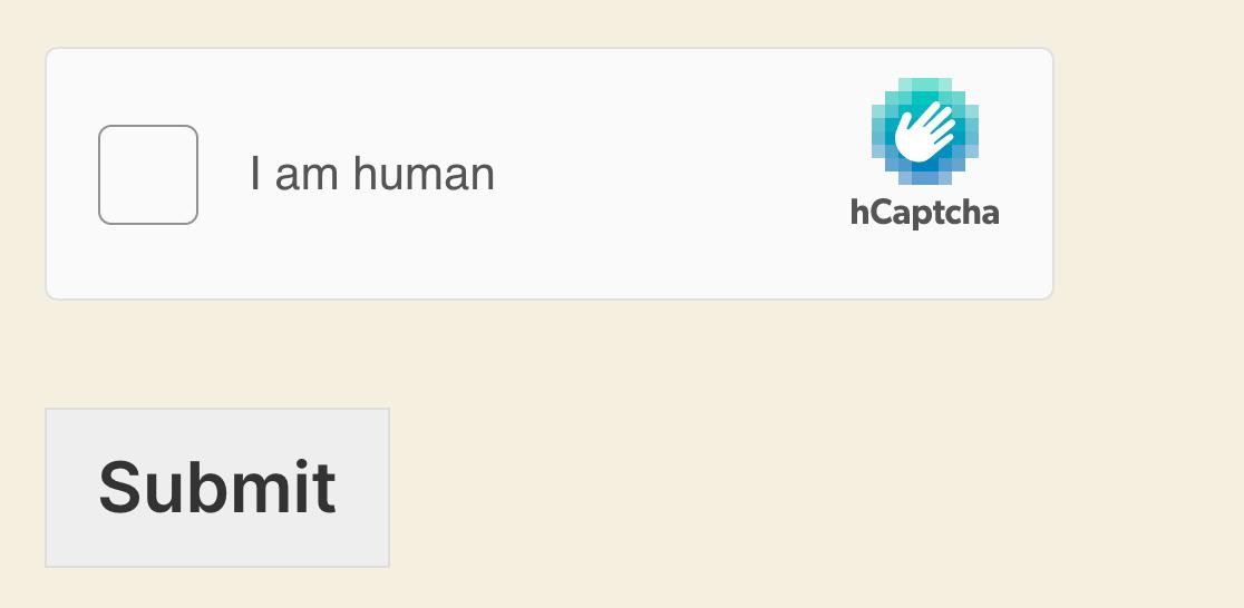 The hCAPTCHA field