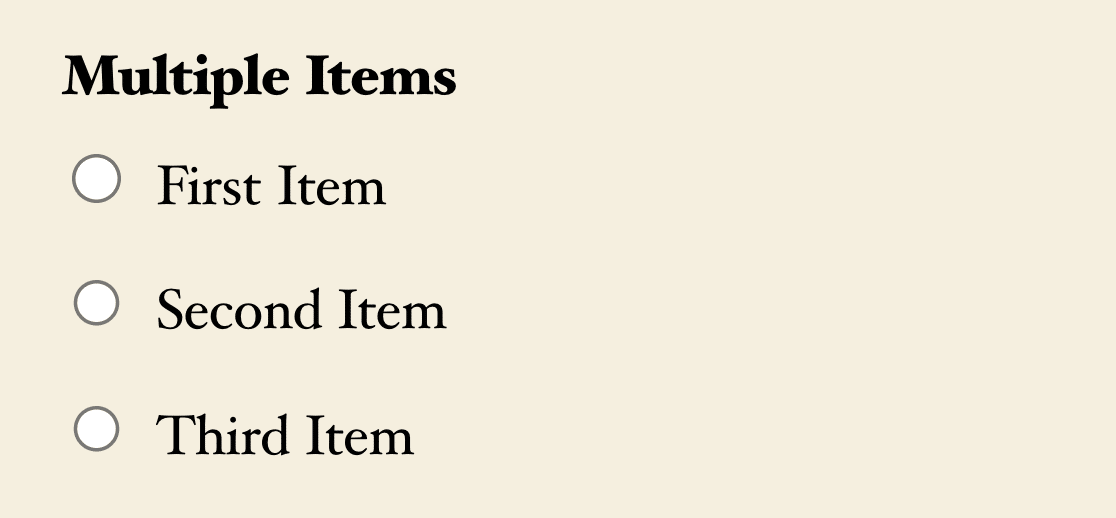A Multiple Items field