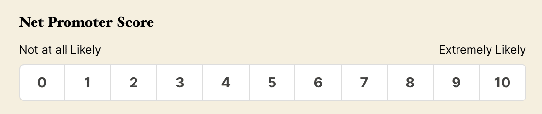 A Net Promoter Score field